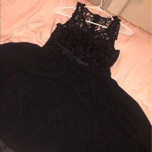 Black, laced up collar dress
